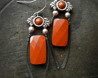 Red Jasper, Silver, Bar, Upcycled, Recycled, Dagger, SouthWest, Vintage, Artisan Made, Earthy, Rustic, Organic, Beaded Earrings