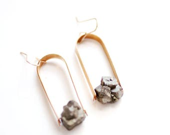 Pyrite Nugget Arch Earrings | Brass Earrings | 14k Gold Fill Earrings | Sterling Silver Earrings