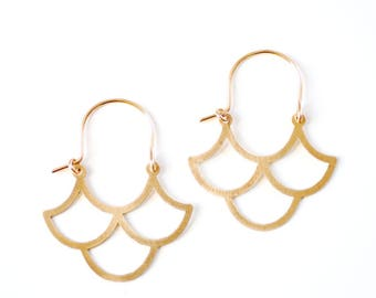Vintage Inspired Ogee Earrings | Wave Earrings | Geometric Earrings | Gold Hoop Earrings | Sterling Silver Hoop Earrings | Moroccan Earrings