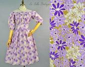 Off Shoulder Peasant Dress ~ Vintage 70s Purple Floral Indian Cotton ~ Full Skirt