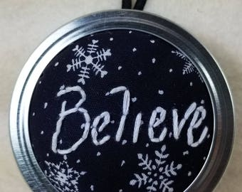 Plush embroidery holiday ornament - BELIEVE