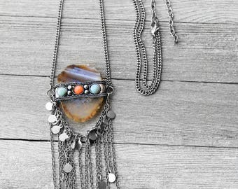 Agate Stone Necklace, Gypsy Style, Bohemian, Fringe, Tribal Necklace, Long Chain, Silver Chain, Gypsy Soul Agate Stone Necklace