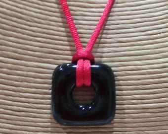 Black Square Necklace, Fused Glass Pendant, Ready to Ship, Fused Glass Jewelry, Donut Pendant  - Darkness- 4410 -3