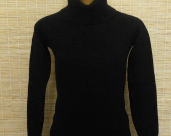 Vintage Cashmere Sweater, 1990s Black Pullover Turtleneck Sweater, by Theory, Size Extra Small to Small, XS to S