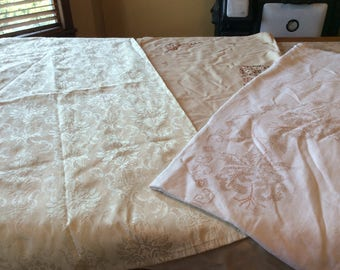 Tablecloths Vintage Linen Value Bundle - Three Beige Tablecloths Embroidery Cross Stitch and Damask B106
