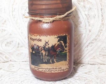 Homespun Memories Grungy Jar Candles - Hayride - 1 pint