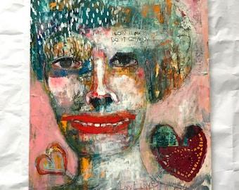 Love Anyway, Mixed media outsider folk art Portrait by Mystele