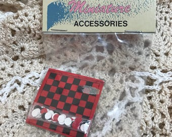 Darling Vintage Miniature Board game NOS in original package supplies doll parts crafts toy Checkers Checkerboard game Barbie Doll Size