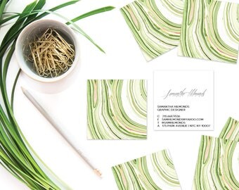 Avocado Green Marble Calling Cards | Business Cards | Blogger Cards | Set (50)