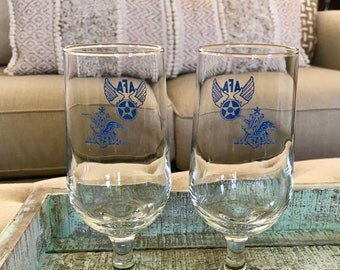 Anheuser Busch Air Force Association Pilsner Glasses set of Two Blue A and Eagle AFA Wings Beer Glass Budweiser TYCAALAK