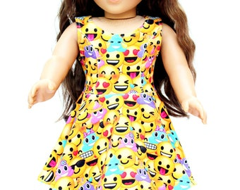 Fits like American Girl Doll Clothes - Emoji Skater Dress - FREE Emoji Gift Wrap,  Made To Order