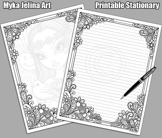 Printable stationary digital download coloring for Myka jelina coloring pages