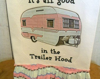 Glamping Camping Shabby cotton Kitchen dish towel pink trailer Tattered ruffles ECS RDT FVGteam