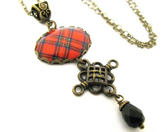 Scottish Tartan Jewelry - Ancient Romance Series - Royal Stewart Tartan Necklace w/Celtic Charm and Onyx Black Czech Bead