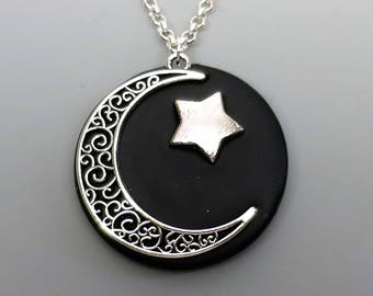 Polymer Clay Pendant, Midnight Moon Celestial Pendant in Metallic Silver and Black