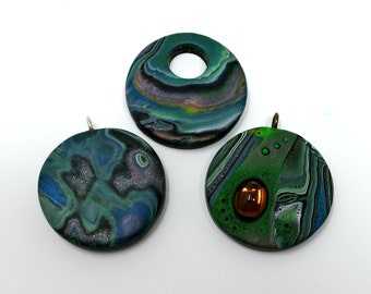Mokume Gane Polymer Clay Pendants, Pale Pink, Green, Cream and Sparkly Black, Mirrored Cabochon, Set of 3, Handmade Jewelry Component