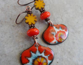 My Sunshine ... Artisan-Made Enameled Copper Charms, Lampwork, Czech Glass Flower and Copper Summer, Boho, Floral Earrings