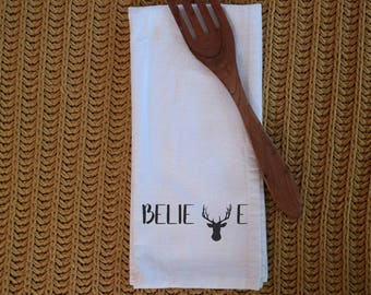 Tea Towel - Flour Sack towel - Believe - Christmas - Handmade - Cotton Tea Towel - Kitchen Towel - Dish Towel