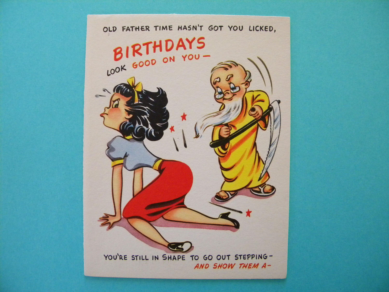 Vintage Unused Birthday Card Strange Father Time Spanking