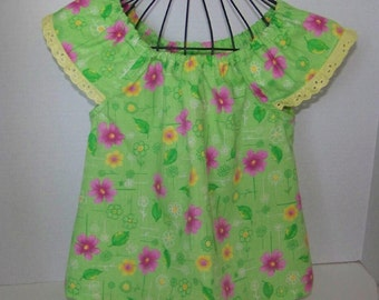Girls Tunic or Dress Green with Pink Flowers with Yellow Eyelet Trim Toddler Girl Tunic  Blouse or Dress  Size 12 mths, 2, 4, and 6