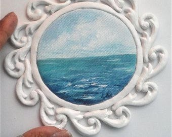 """Mini Oil Painting Round Seascape with Handmade Frame 3"""" READY to SHIP"""