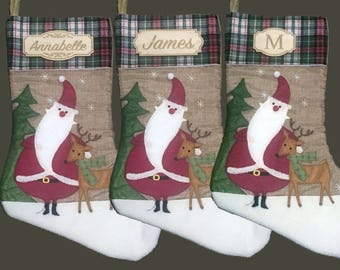 Personalized Christmas Stocking, Custom Wood Name, Rustic Christmas, Santa and Deer Stockings, Gifts for Him, Gifts for Her