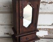 Vintage Jewelry Box - Handmade Wooden Armoire Mirror Salesman Sample