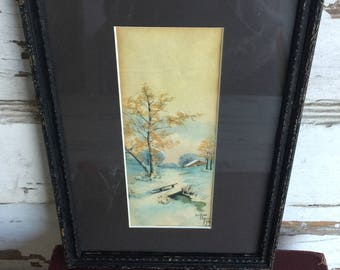 Antique Watercolor Painting Framed in a Wood Frame under Glass - Signed Nelson Raper 1915