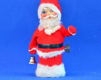 Vintage Wind Up Santa Claus Toy - Mechanical Waving Bell Ringer Santa - Retro Christmas Decor - Vintage Holiday Kitsch – Made in Japan
