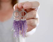 Amethyst Fringe earrings. Sterling silver fringe earrings with Amethyst. Amethyst chandelier, fringe dangles, silver fringe earrings.