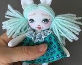 Tiny Bunny Rabbit Rag Doll for Your or Your Dolls, Forest animal art doll for Blythe and BJD, miniature cloth doll teal turquoise