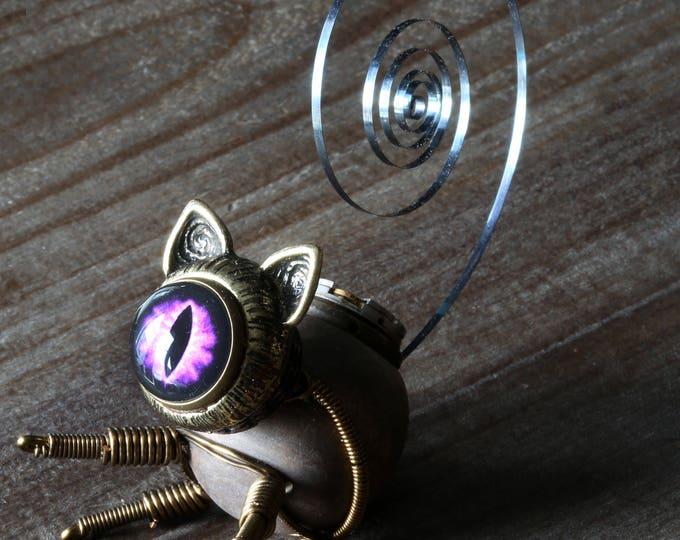 Steampunk Cat Sculpture with purple eye