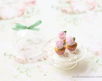 Dollhouse Miniature Food - Buttermilk Pink Peonies Cupcakes