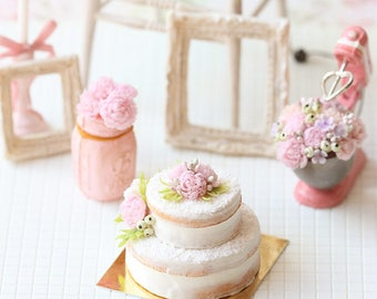 RESERVED - Dollhouse Cake - Pink Peonies Naked Cake