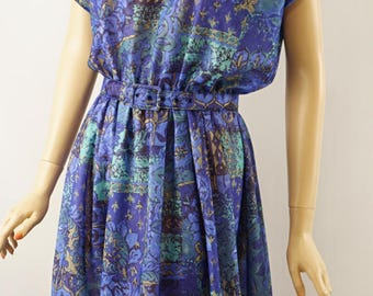 Vintage 1970s Dress Abstract Blue and Green Print by Anthony Richards Sz 14 B44