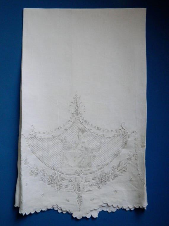 Vintage Elaborate Figural Embroidered White Linen Towel