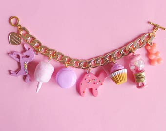 Pink Candy Charm Bracelet, Pink Dessert Charm Bracelet, Unicorn, 80s, 90s, Cotton Candy, Kawaii Food Jewelry, Pinup Jewelry
