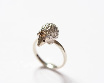 Hedgehog Ring, Handmade Sterling Silver Ring, Black Diamond Eyes, Gold Crown, Precious Jewellery, Handmade in Brighton, uk