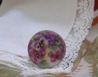 Vintage Porcelain Purple Pansy Ring