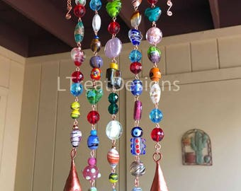 GLASS Beaded Wind Chime with Copper, Crystals and Bells, Boho Sun Catcher, Gift