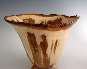 Wood Bowl - Artistic Natural Bark Edge Maple Burl Wood Turned Bowl - Wooden Bowl - House Decor - Kitchen and Gourmet - Wedding Gift