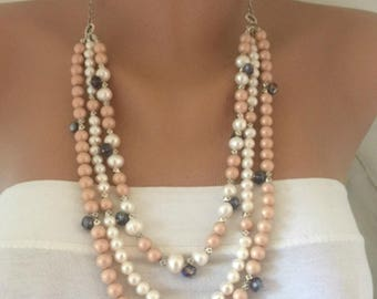 3 Strands Powder Blush Glass Pearl Necklace with Freshwater Pearls and Crystals