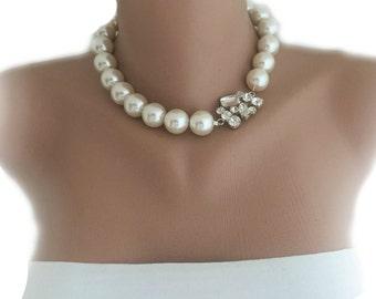 Handmade Ivory Pearl Choker,Bridal Rhinestone Brooch Necklace