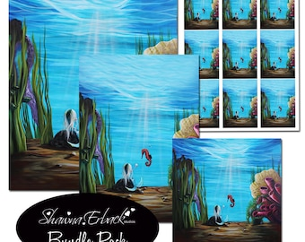 Postcards Mermaid Ocean Printable Digital Cards ATC ACEO 4x4 inch Instant Download Digital Collage Sheet 8x10 Art To Print Supplies