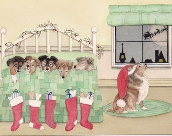 Christmas cards: Shetland sheepdog (sheltie) family waits for Santa on Xmas eve / Lynch folk art
