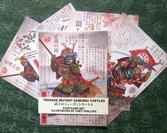 "Teenage Mutant Samurai Turtles Postcard Set- Four 5"" x 7"" Postcards"