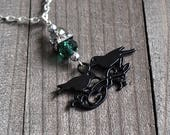 Two Crows, Black Crow Necklace, Gothic Raven Pendant, Black Crow Jewelry, Gothic Bird Necklace, Black Bird Necklace