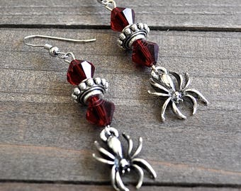 Silver Spider Earrings Gothic Spider Jewelry Spider Charms With Crystals Cosplay Spiderman or Spidergirl Earrings