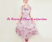 RESERVED 40s Pink Ribbon and Rose Print Cotton Peasant Style Long Dress M