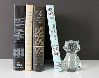 VINTAGE glass OWL / owl paper weight